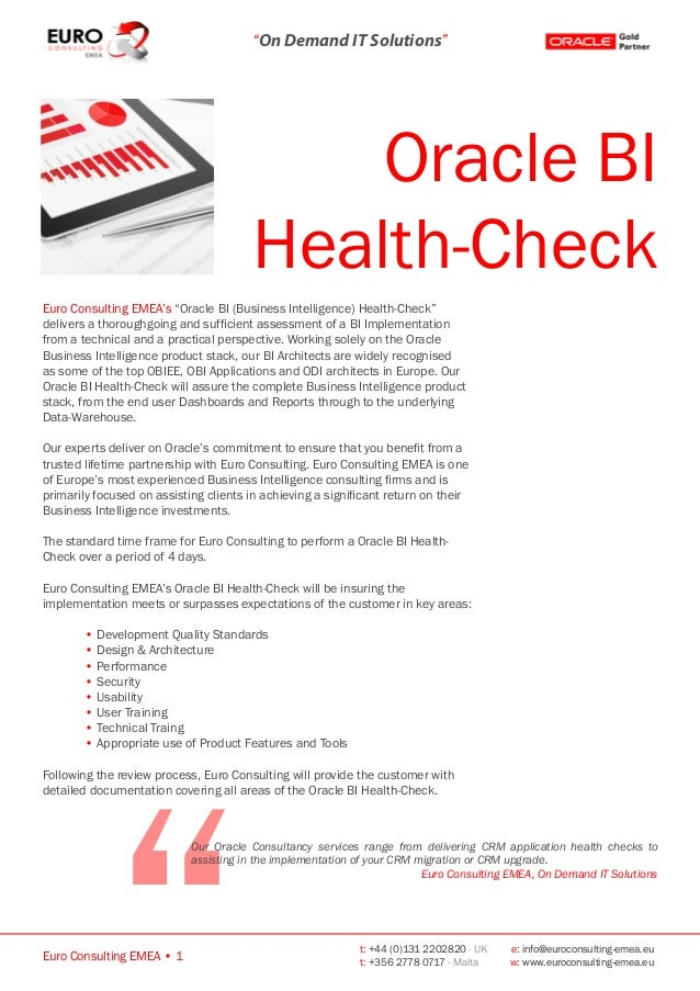 Oracle bi health check euro consulting emea oracle for Consul http health check