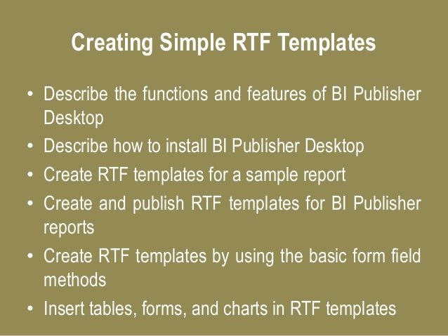 Oracle bi publisher online training for How to create rtf template for xml publisher