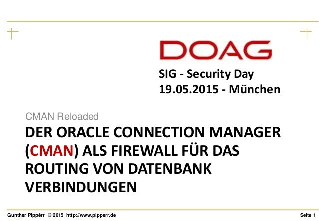 Seite 1Gunther Pippèrr © 2015 http://www.pipperr.de DER ORACLE CONNECTION MANAGER (CMAN) ALS FIREWALL FÜR DAS ROUTING VON ...