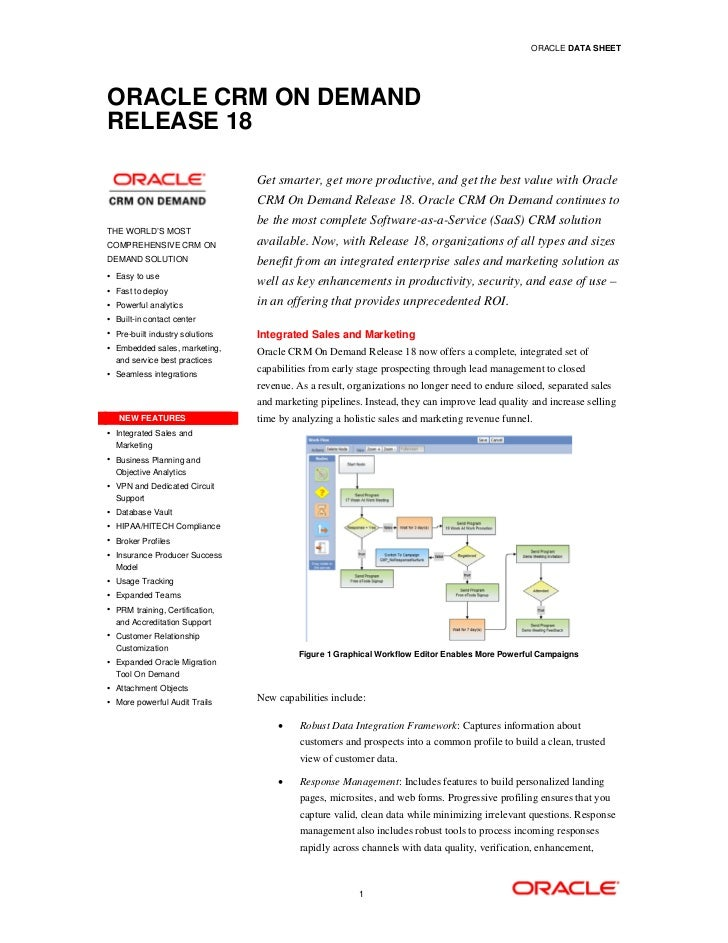 ORACLE DATA SHEETORACLE CRM ON DEMANDRELEASE 18                                 Get smarter, get more productive, and get ...