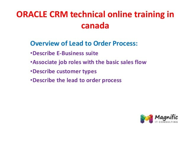 ORACLE CRM technical online training in canada Overview of Lead to Order Process: •Describe E-Business suite •Associate jo...