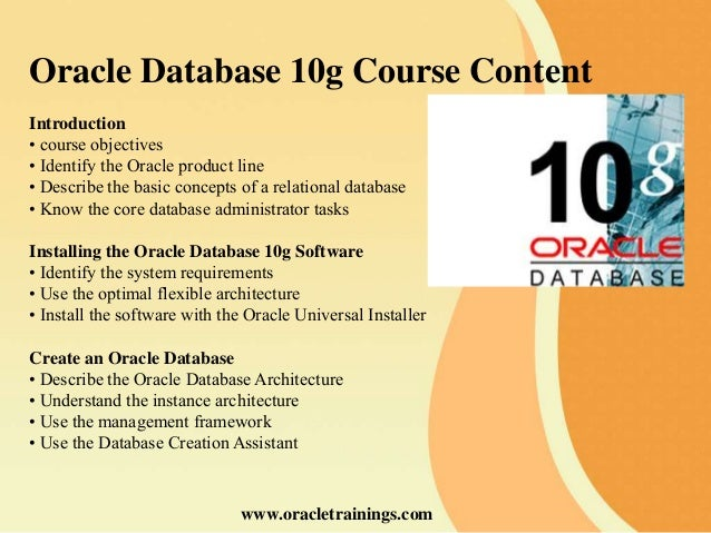 how to create database in oracle 10g