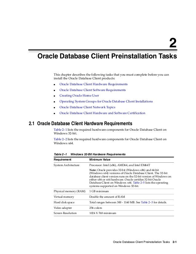 Oracle Database 12c System Requirements
