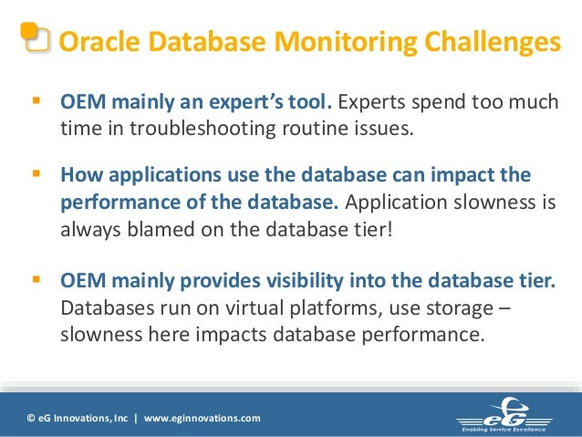 Oracle database performance monitoring diagnosis and reporting with E…