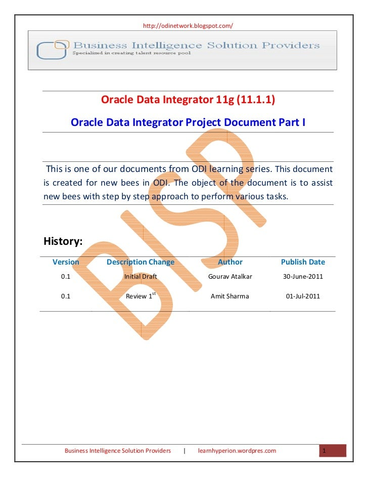 http://odinetwork.blogspot.com/                  Oracle Data Integrator 11g (11.1.1)          Oracle Data Integrator Proje...