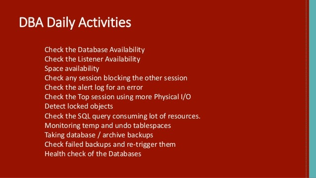 ORACLE DBA DAILY ACTIVITIES PDF DOWNLOAD