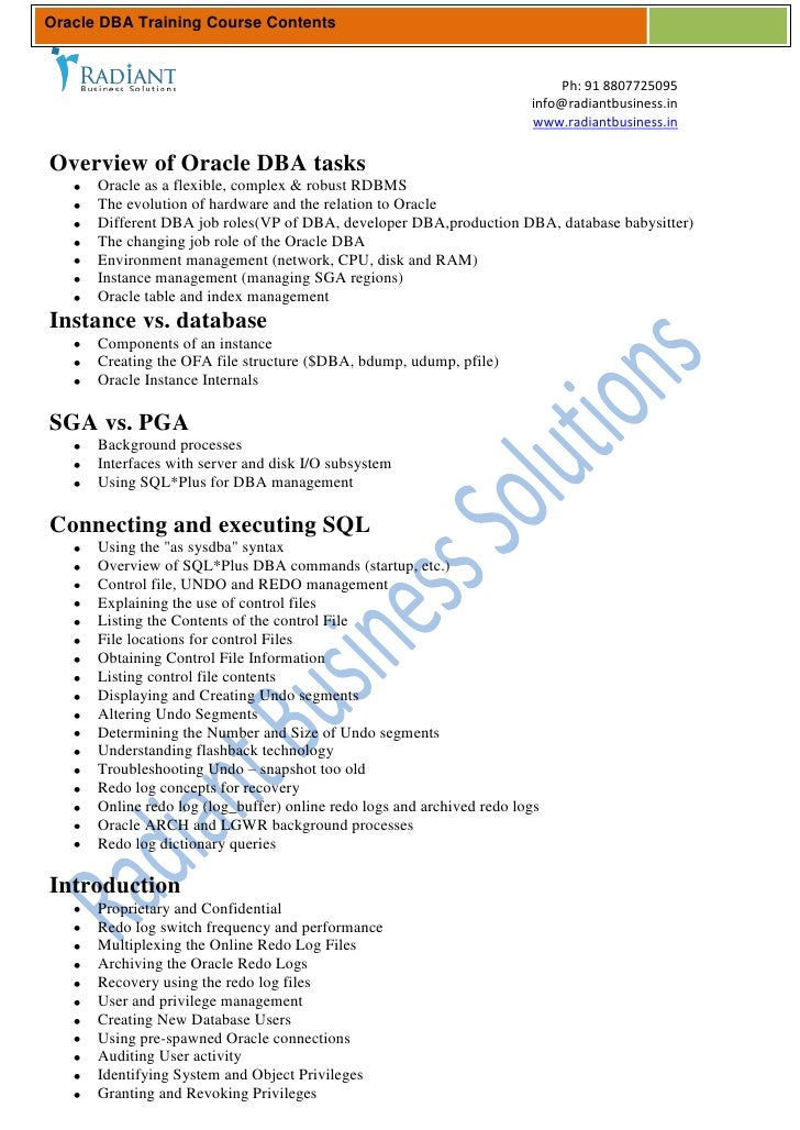 Oracle DBA Training Course Contents                                                                            Ph: 91 8807...