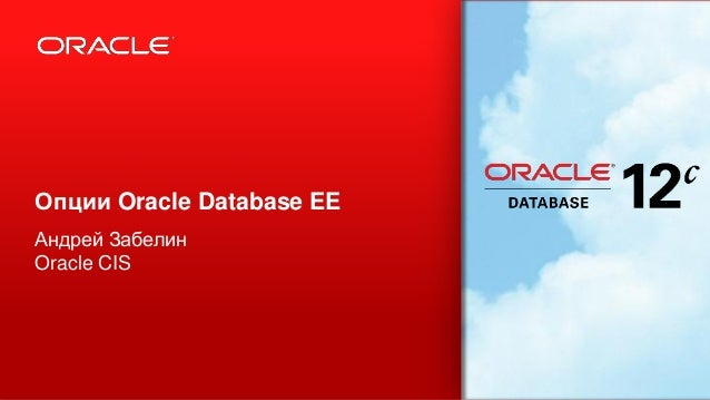 Опции Oracle Database EE Андрей Забелин Oracle CIS