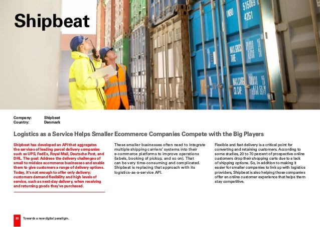 30 Towards a new digital paradigm. Shipbeat has developed an API that aggregates the services of leading parcel delivery c...