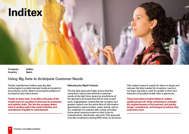 55 Towards a new digital paradigm. Textile manufacturer Inditex uses big data technologies to predict demand levels and pe...