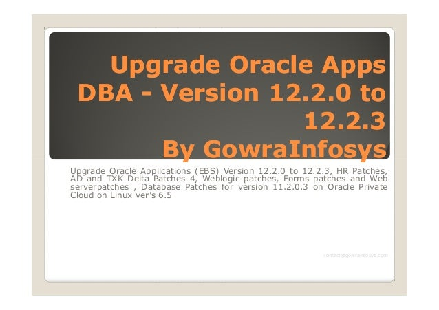 Upgrade Oracle AppsUpgrade Oracle Apps DBADBA -- Version 12.2.0 toVersion 12.2.0 to 12.2.312.2.3 By GowraInfosysBy GowraIn...