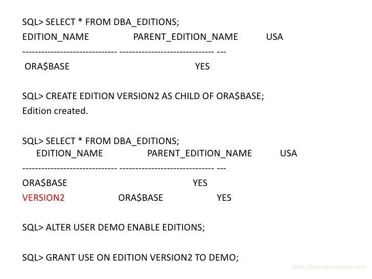 Basic - Oracle Edition Based Redefinition Presentation