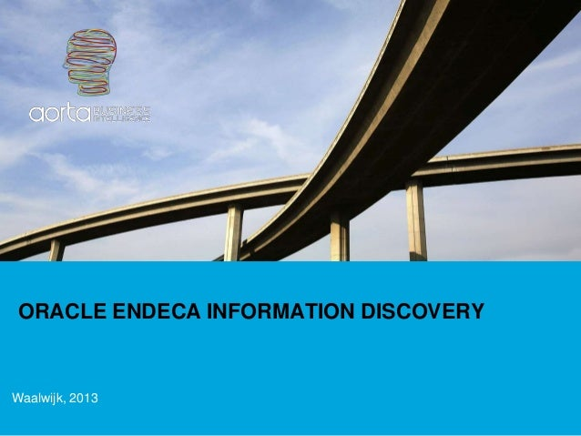 ORACLE ENDECA INFORMATION DISCOVERYWaalwijk, 2013