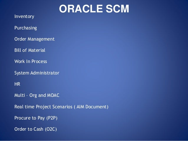 Oracle Financials Scm Functional Training