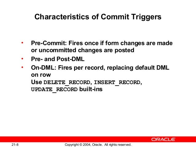 Commit in oracle forms