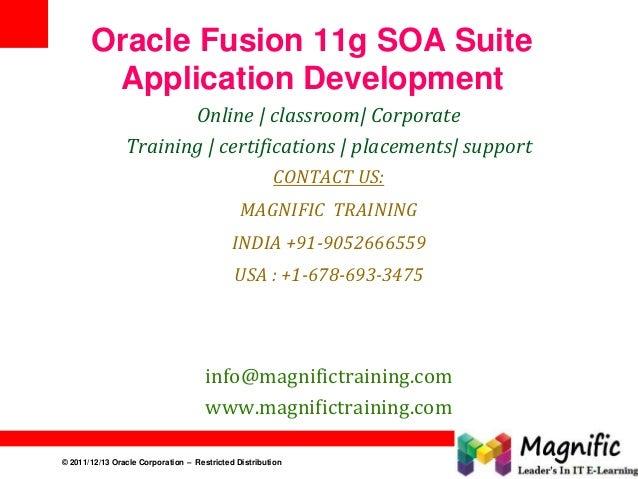 © 2011/12/13 Oracle Corporation – Restricted Distribution 1 Oracle Fusion 11g SOA Suite Application Development Online   c...