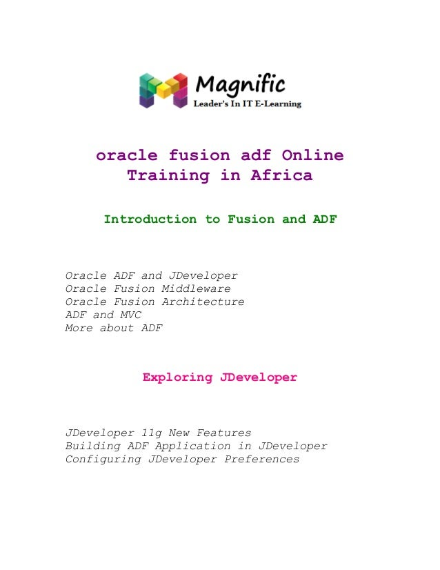 oracle fusion adf Online Training in Africa Introduction to Fusion and ADF  Oracle ADF and JDeveloper Oracle Fusion Middle...