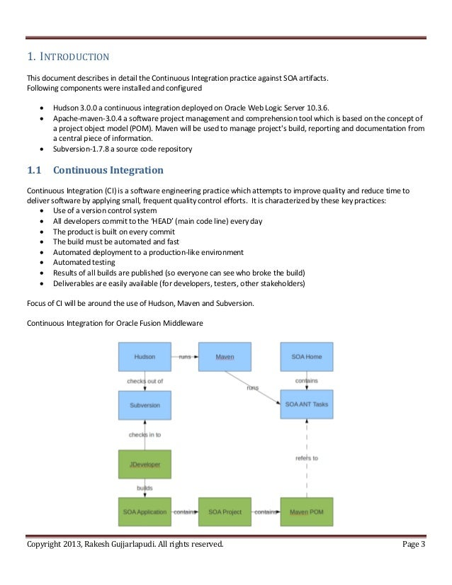 1. INTRODUCTIONThis document describes in detail the Continuous Integration practice against SOA artifacts.Following compo...