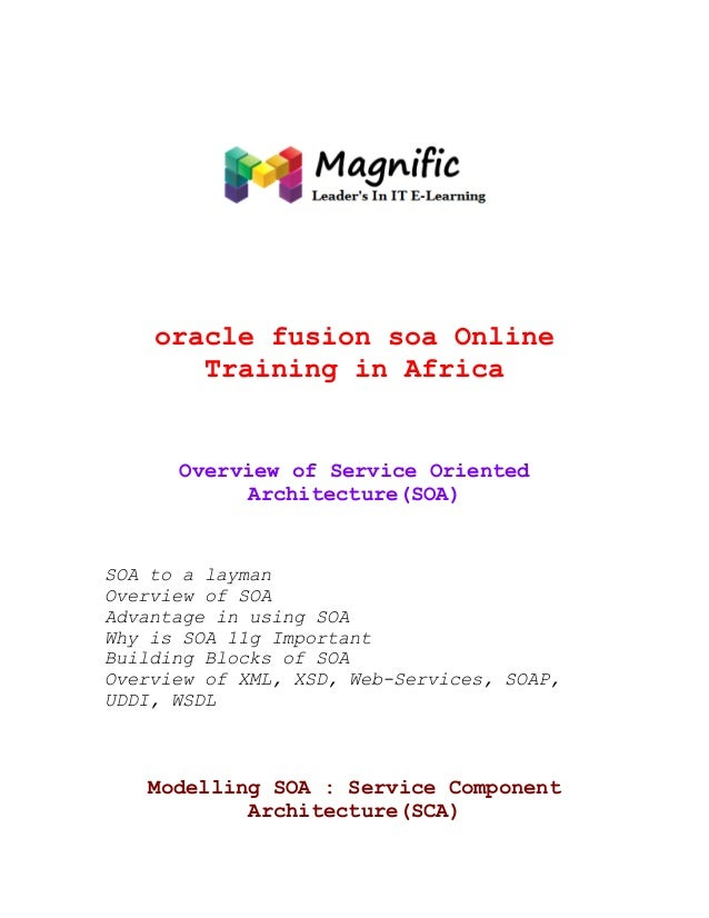 oracle fusion soa Online Training in Africa  Overview of Service Oriented Architecture(SOA)  SOA to a layman Overview of S...