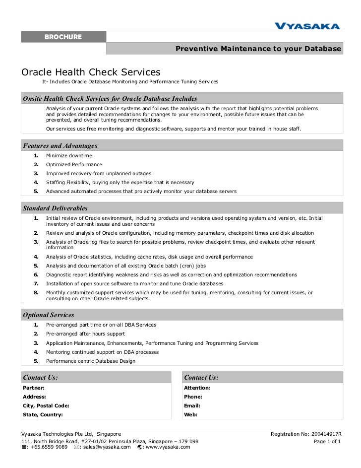 Oracle health check services