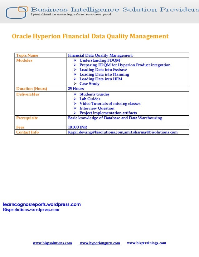 Oracle Hyperion Financial Data Quality Management     Topic Name                 Financial Data Quality Management     Mod...