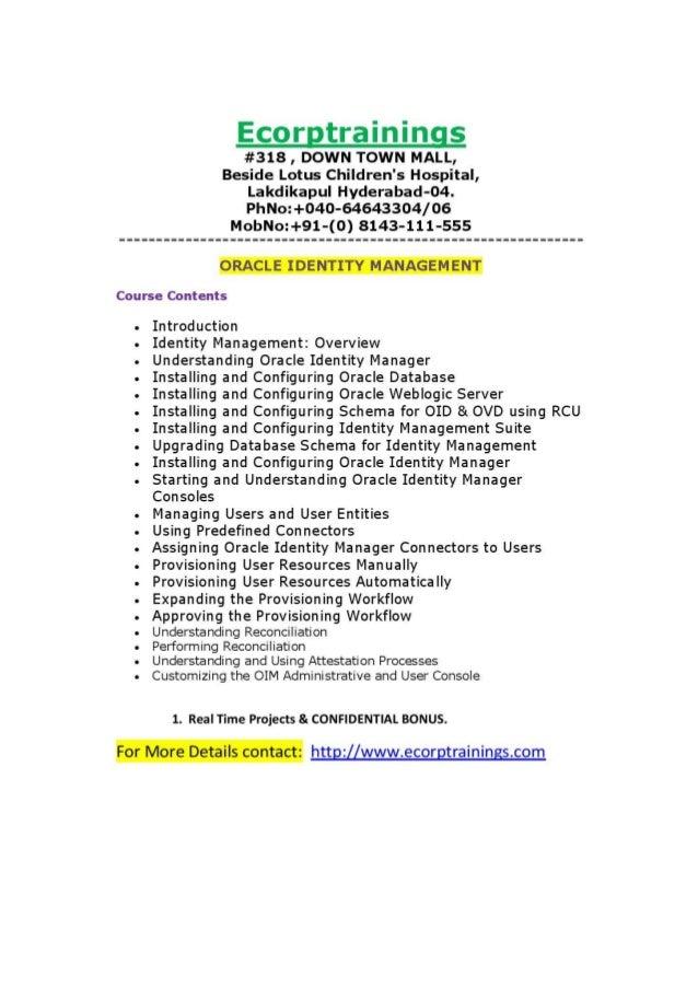 ORACLE IDENTITY MANAGEMENT Online training Tutorials | Best ORACLE IDENTITY MANAGEMENT    training | Ecorptrainings