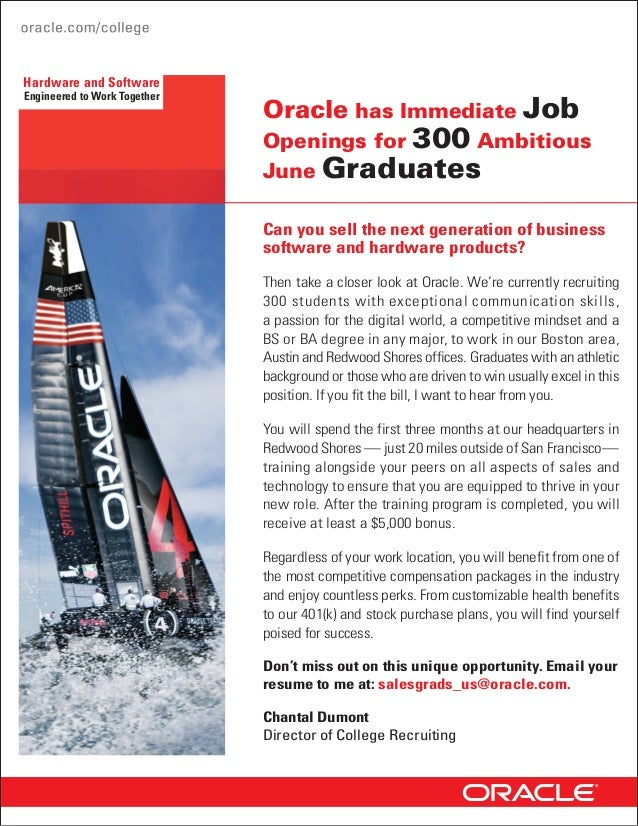 Hardware and SoftwareEngineered to Work Together                              Oracle has Immediate Job                    ...