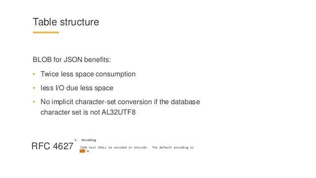 Oracle json caveats