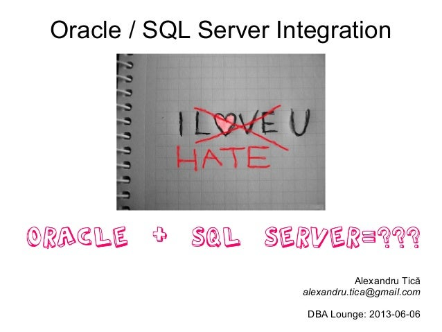 Oracle / SQL Server IntegrationAlexandru Ticăalexandru.tica@gmail.comDBA Lounge: 2013-06-06