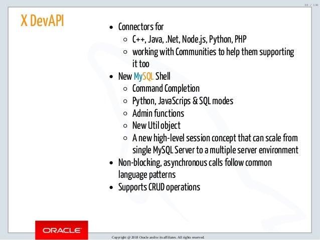 Oracle Open World 2018 / Code One : MySQL 8 0 Document Store