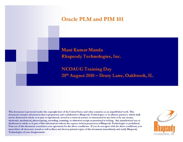 [NCOAUG] Oracle PLM and PIM 101
