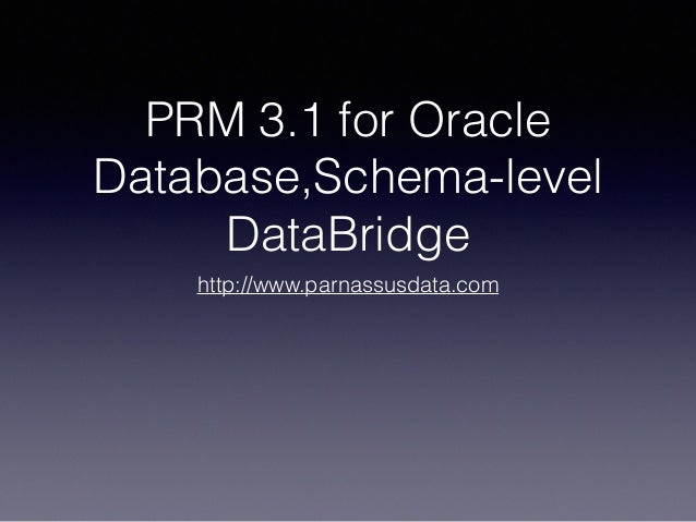 PRM 3.1 for Oracle Database,Schema-level DataBridge http://www.parnassusdata.com