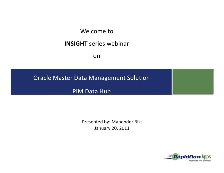 Welcome to          INSIGHT series webinar       Welcome to online seminar                   on                  onOracle ...