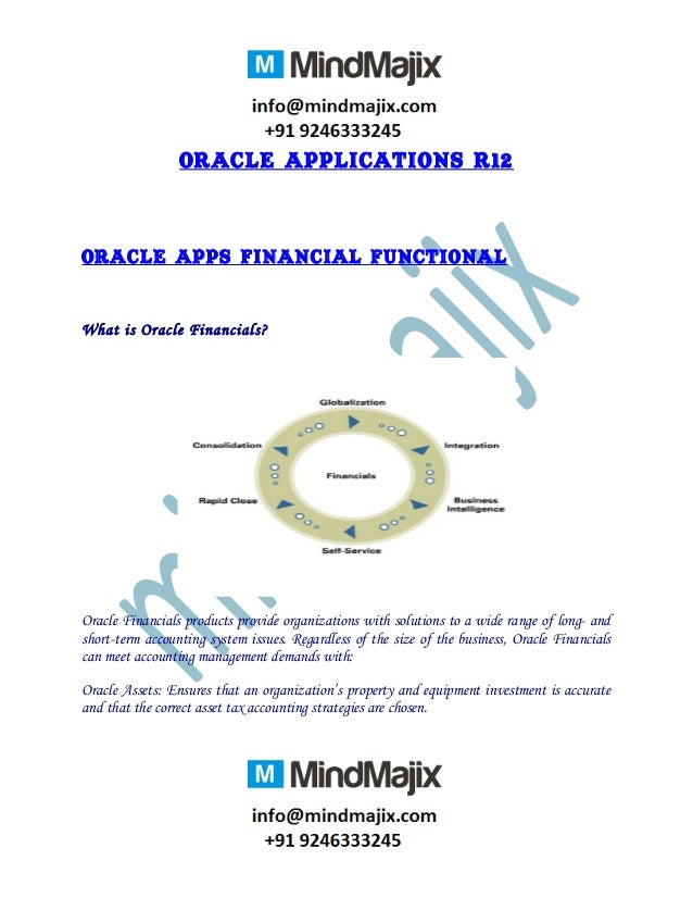 Oracle Applications R12 Oracle Apps Financial Functional What is Oracle Financials? Oracle Financials products provide org...