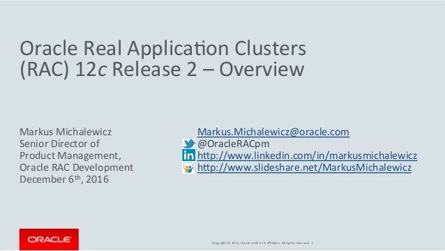 Oracle RAC 12c Release 2 - Overview