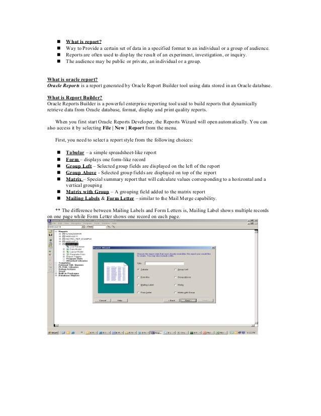 D2k reports tutorial