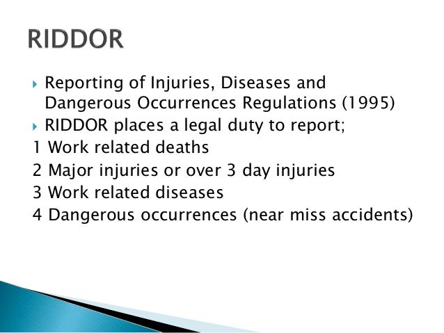 Reporting of injuries, diseases and dangerous occurrences regulations 1995 essay