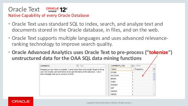 Copyright © 2016, Oracle and/or its affiliates. All rights reserved. | Oracle Text Native Capability of every Oracle Datab...
