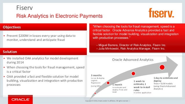 Copyright © 2016, Oracle and/or its affiliates. All rights reserved. | Fiserv Risk Analytics in Electronic Payments Object...