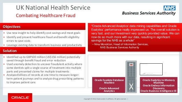Copyright © 2016, Oracle and/or its affiliates. All rights reserved. | UK National Health Service Combating Healthcare Fra...