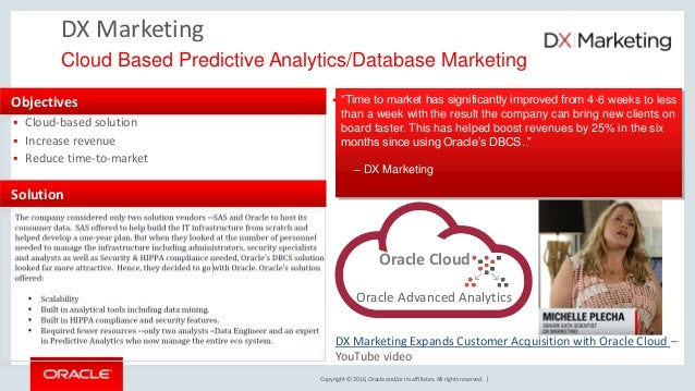 Copyright © 2016, Oracle and/or its affiliates. All rights reserved. | DX Marketing Cloud Based Predictive Analytics/Datab...