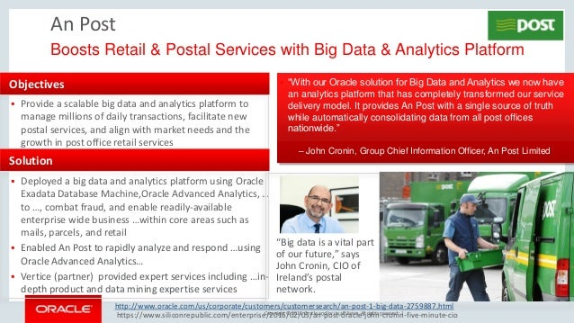 Copyright © 2016, Oracle and/or its affiliates. All rights reserved. | An Post Boosts Retail & Postal Services with Big Da...