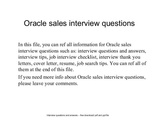 Oracle Sales Interview Questions