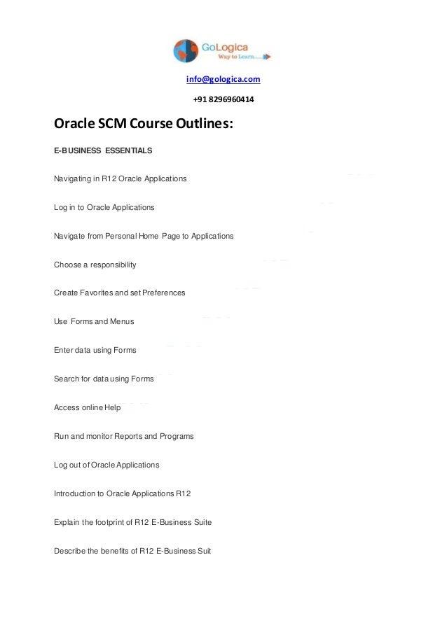 Oracle Scm Course Content