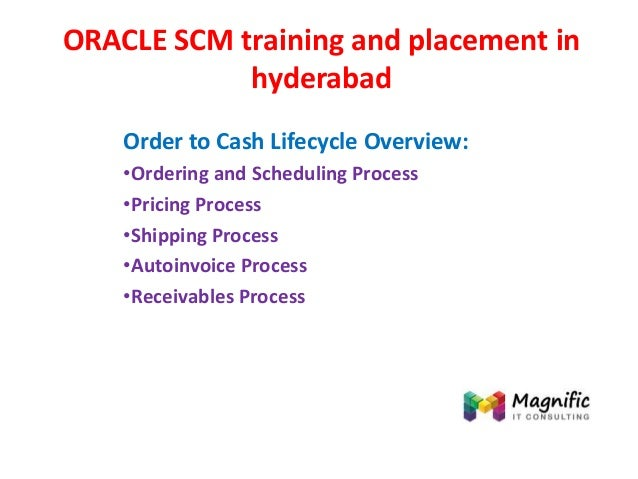 ORACLE SCM training and placement in hyderabad Order to Cash Lifecycle Overview: •Ordering and Scheduling Process •Pricing...