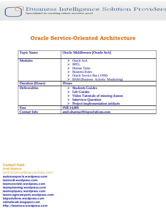 Oracle Service-Oriented Architecture Topic Name Oracle Middleware [Oracle SoA] Modules  Oracle SoA  BPEL  Human Tasks ...