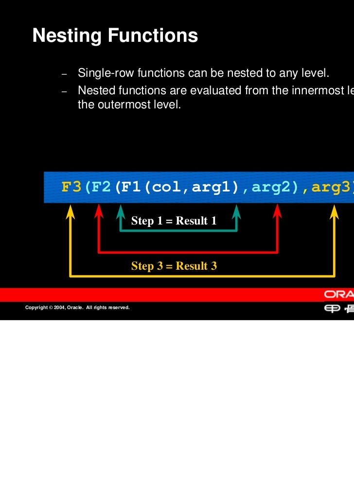 Nesting Functions                –                –      Single-row functions can be nested to any level.                 ...