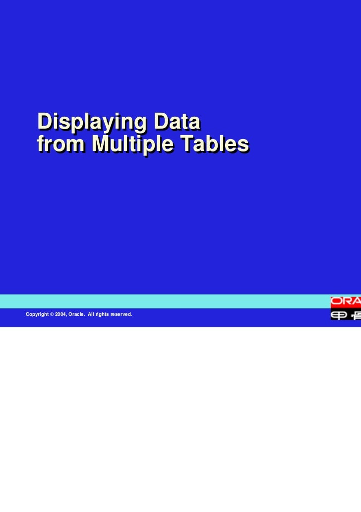 Displaying Data    from Multiple TablesCopyright © 2004, Oracle. All rights reserved.