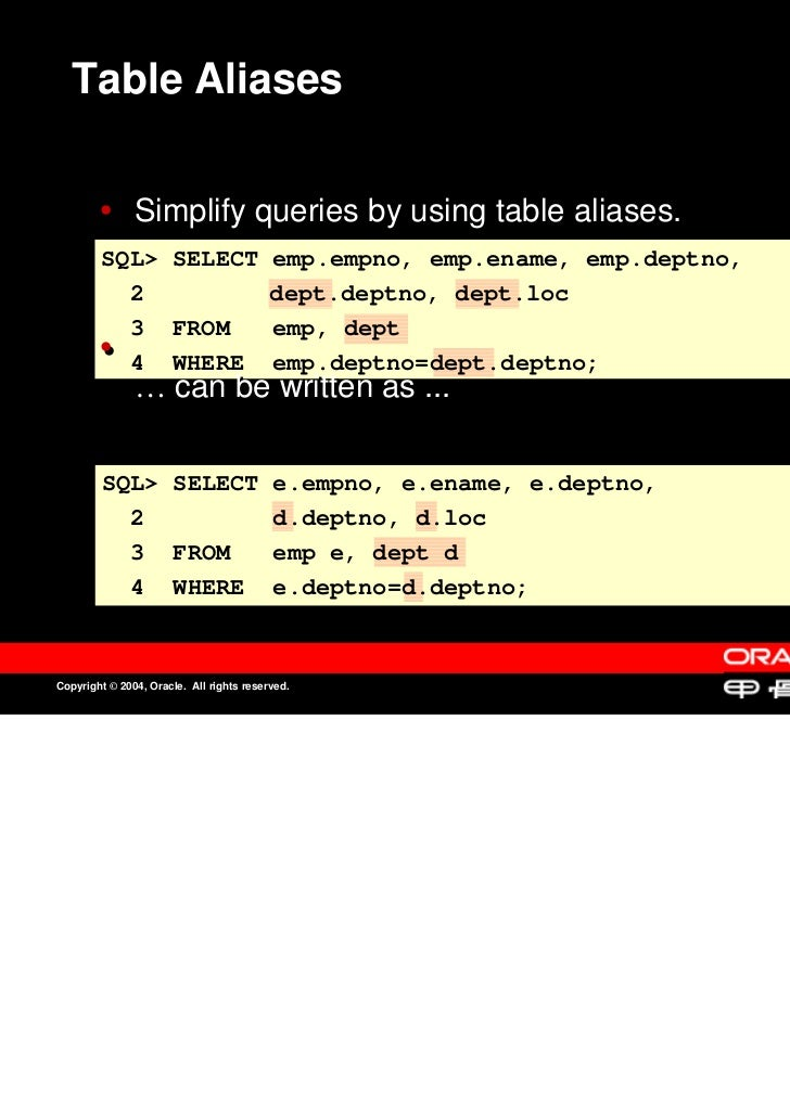 Table Aliases               Simplify queries by using table aliases.               Simplify queries by using table aliases...