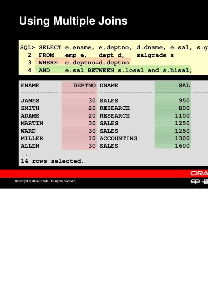 Using Multiple Joins   SQL>           SELECT             e.ename, e.deptno, d.dname, e.sal, s.grade     2            FROM ...
